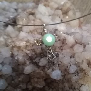 Jewelry - Silver choker with green turquoise cross pendant